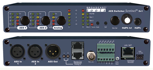 Broadcast Tools AES Switcher Sentinel® 2+1 切换器